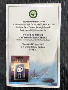 The Programme for the book launching of Twice She Struck