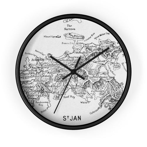 Vintage St. John Map Clock 10 In / Black Home Decor