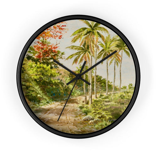 Palms And Flamboyants ~ Wall Clock 10 In / Black Home Decor