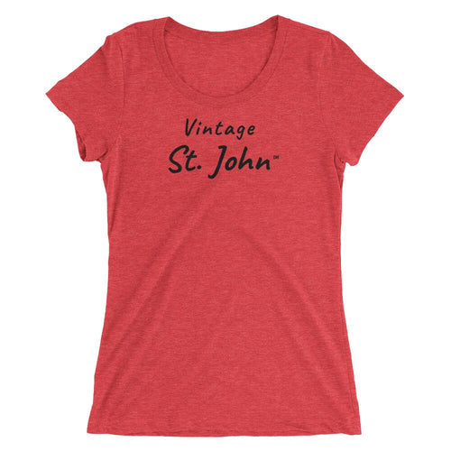 Vintage St. John Womens Short Sleeve T-Shirt Red Triblend / S T-Shirts