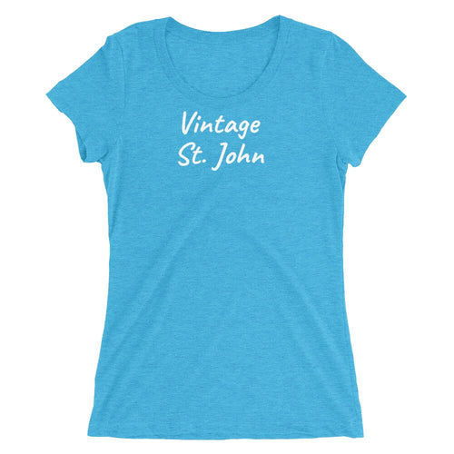 Vintage St. John Ladies Short-Sleeve T-Shirt Aqua Triblend / S T-Shirts