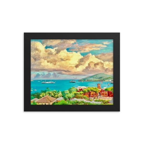 Colorful Charlotte Amalie by Andreas Riis Carstensen ~ 8x10 Framed Print - Vintage Virgin Islands