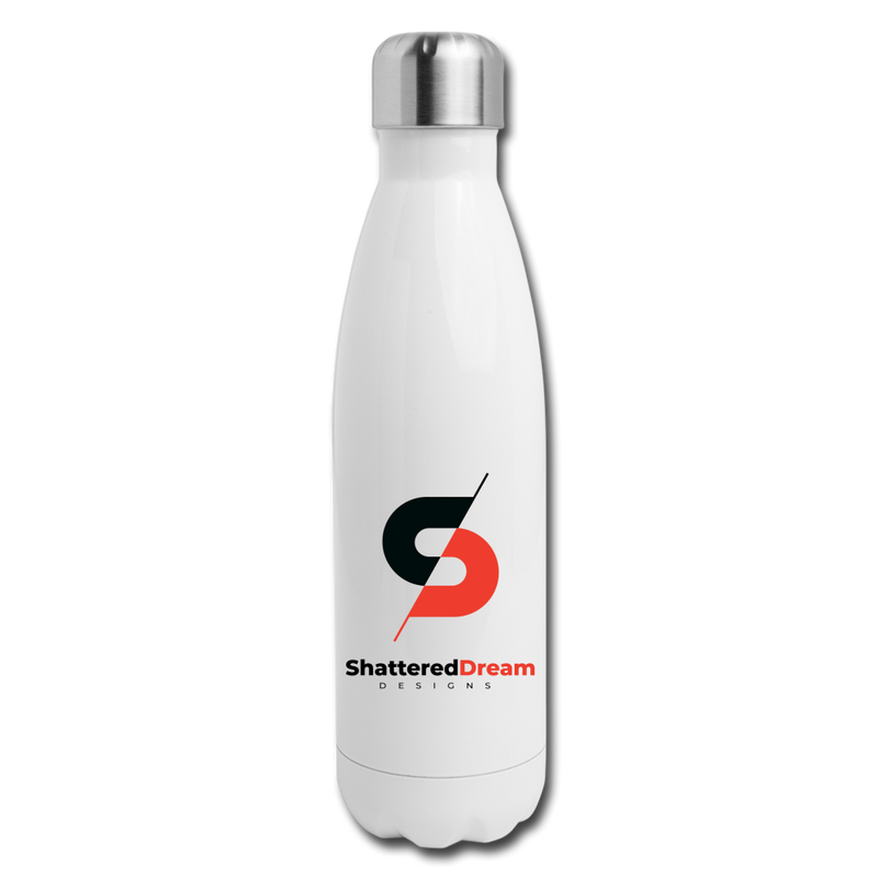 Shattered Insulated Stainless Steel Water Bottle - white