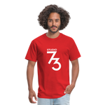 Men's Front & Back S73 White T-Shirt - red