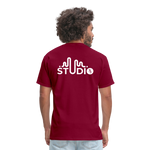 Men's Front & Back S73 White T-Shirt - burgundy