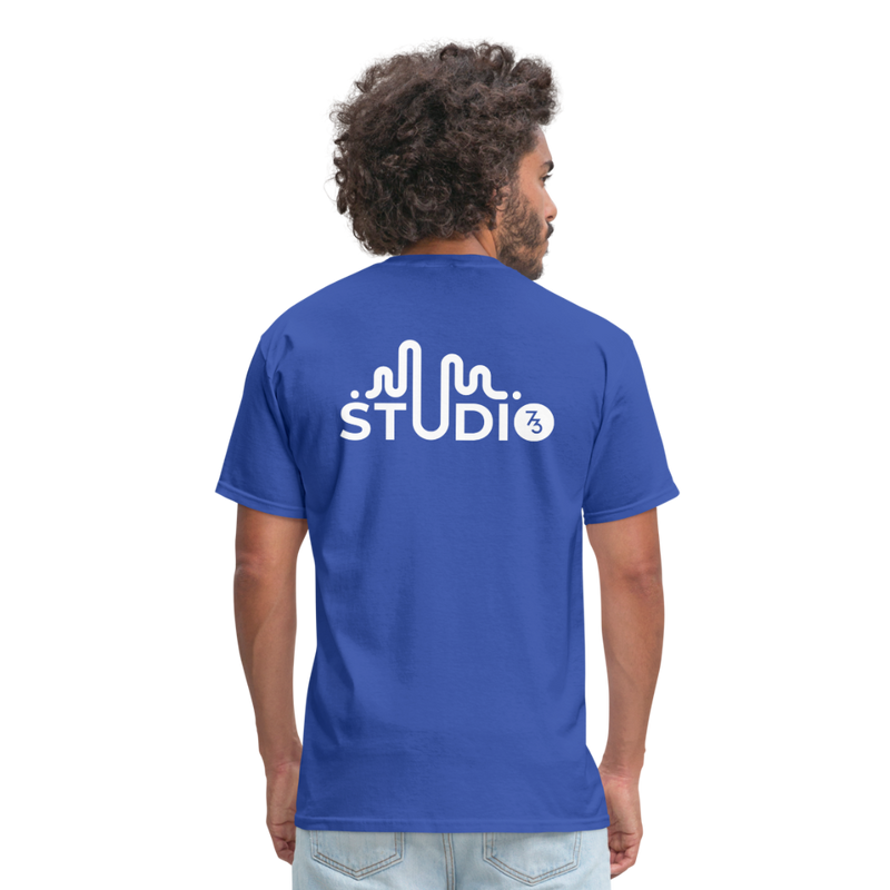 Men's Front & Back S73 White T-Shirt - royal blue