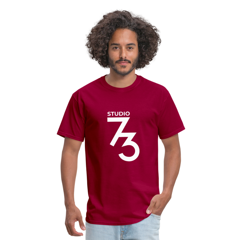Men's Front & Back S73 White T-Shirt - dark red