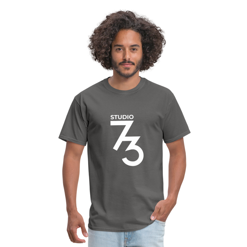Men's Front & Back S73 White T-Shirt - charcoal