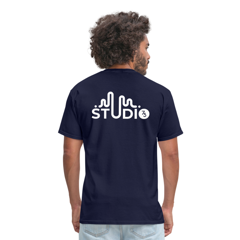 Men's Front & Back S73 White T-Shirt - navy