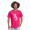 Men's Front & Back S73 White T-Shirt - fuchsia