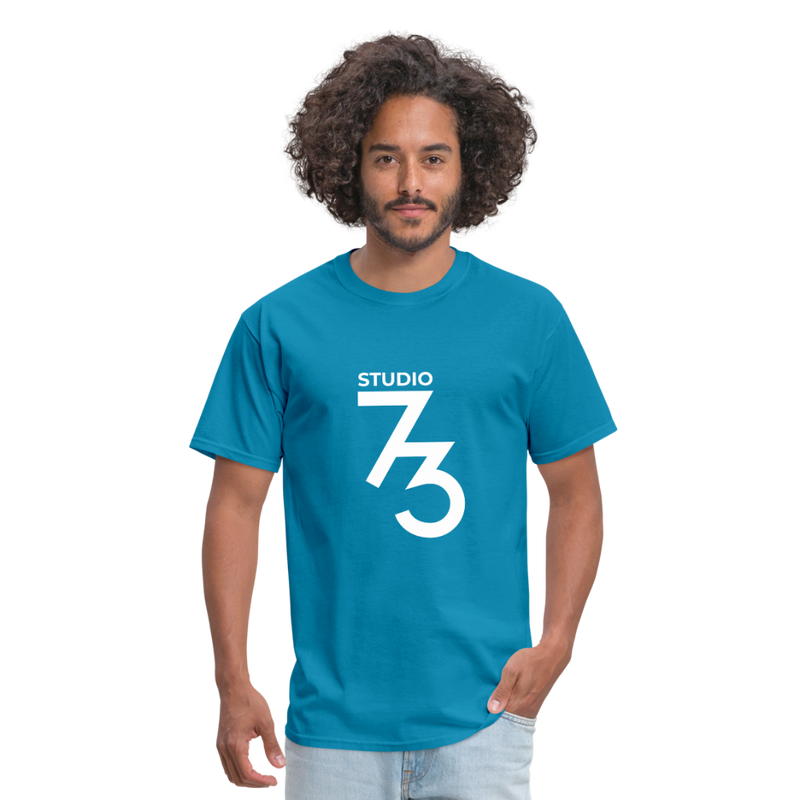 Men's Front & Back S73 White T-Shirt - turquoise