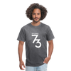 Men's Front & Back S73 White T-Shirt - mineral charcoal gray