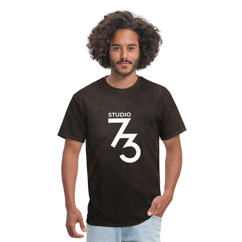 Men's Front & Back S73 White T-Shirt - mineral black