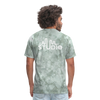 Men's Front & Back S73 White T-Shirt - military green tie dye