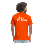 Men's Front & Back S73 White T-Shirt - orange