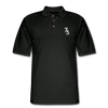 Men's S73 White Logo Pique Polo Shirt - black