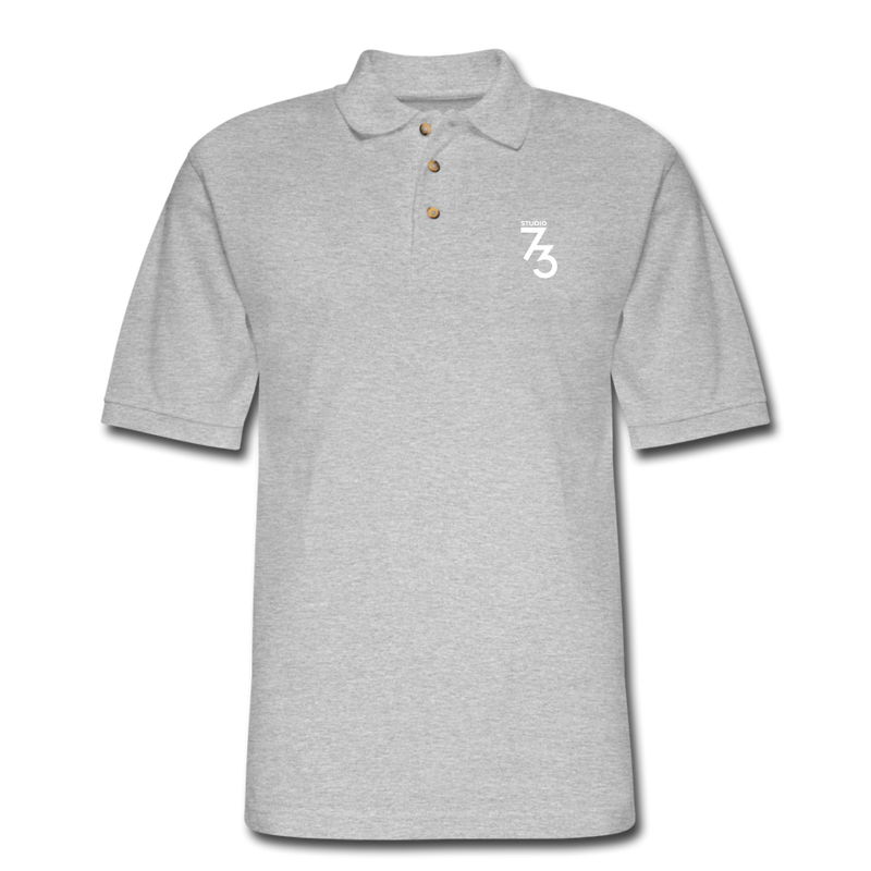Men's S73 White Logo Pique Polo Shirt - heather gray