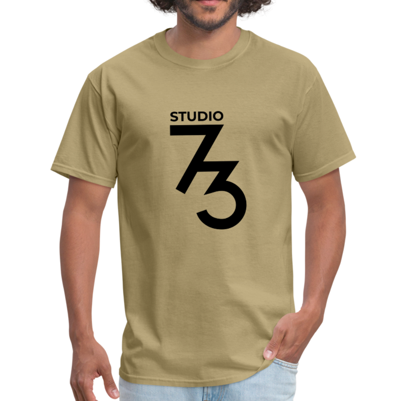 Men's Front & Back S73 Black Logo T-Shirt - khaki