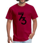Men's Front & Back S73 Black Logo T-Shirt - dark red