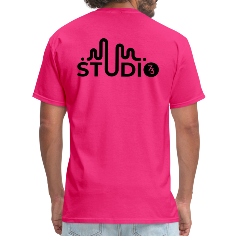 Men's Front & Back S73 Black Logo T-Shirt - fuchsia