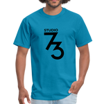 Men's Front & Back S73 Black Logo T-Shirt - turquoise