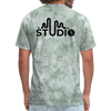 Men's Front & Back S73 Black Logo T-Shirt - military green tie dye