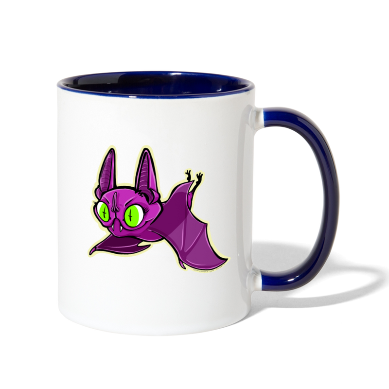 Ally Cat Batty Contrast Coffee Mug - white/cobalt blue
