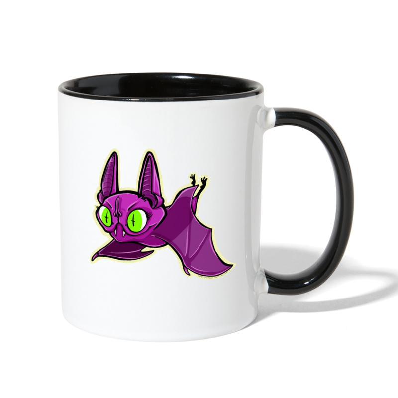 Ally Cat Batty Contrast Coffee Mug - white/black