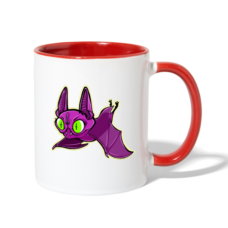 Ally Cat Batty Contrast Coffee Mug - white/red