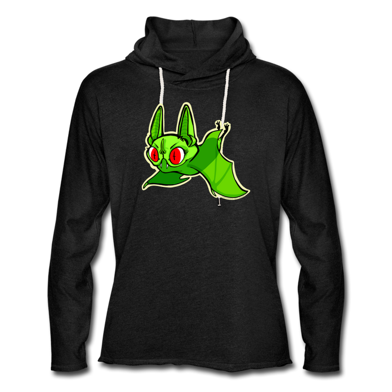 Pompadorable: Art by Ally Cat - Green Batty Lightweight Terry Hoodie - charcoal gray