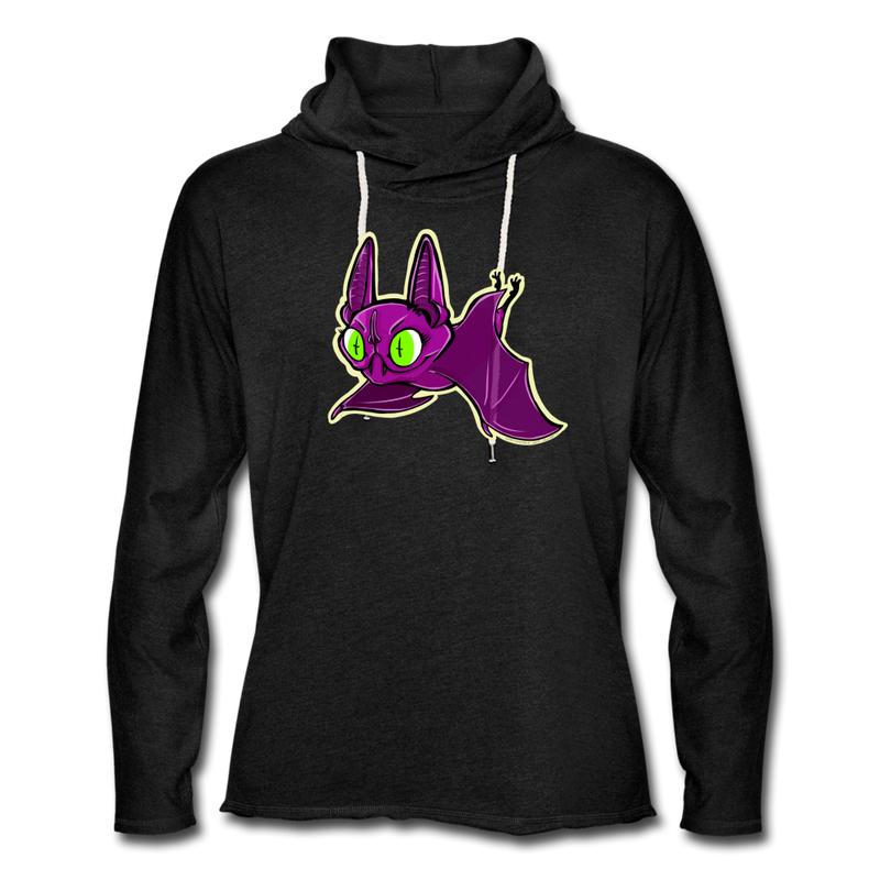 Pompadorable: Art by Ally Cat - Purple Batty Lightweight Terry Hoodie - charcoal gray