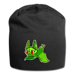 Pompadorable: Art by Ally Cat - Green Batty Jersey Beanie - black