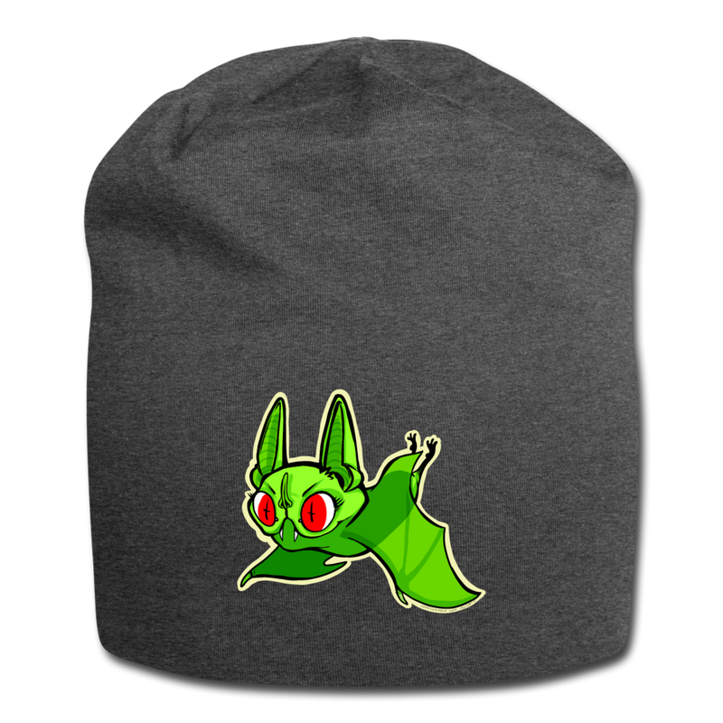 Pompadorable: Art by Ally Cat - Green Batty Jersey Beanie - charcoal gray