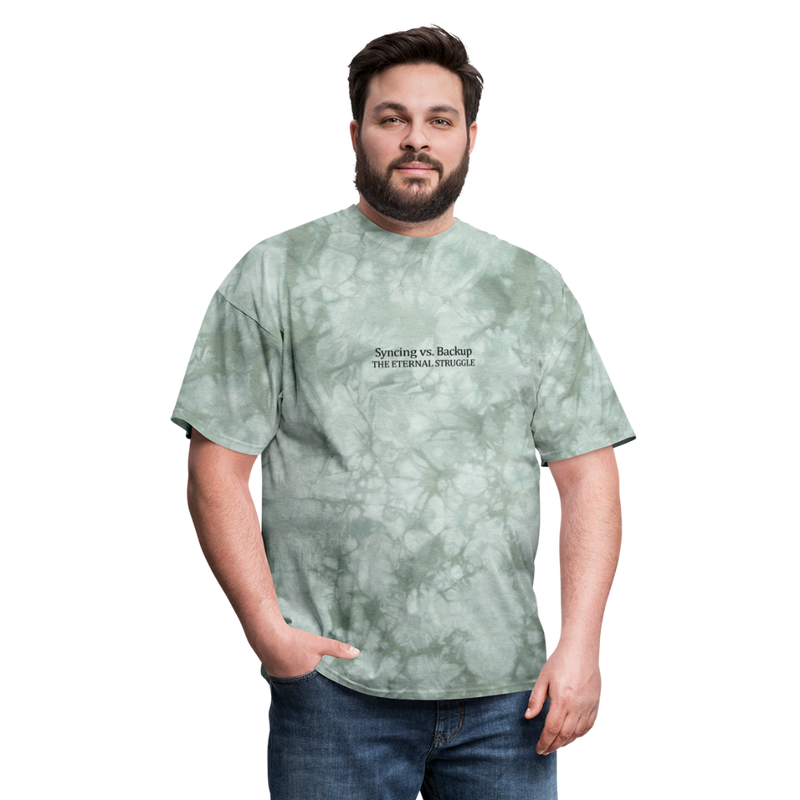 Syncing vs Backup Unisex Classic Tee (Black Logo) - military green tie dye