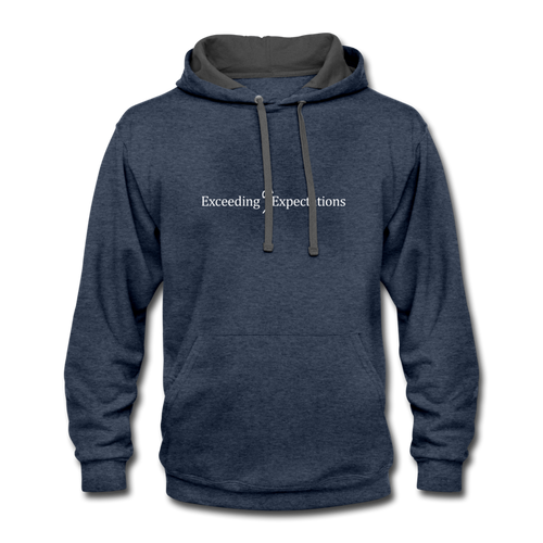 Exceeding All Expectations Contrast Hoodie - indigo heather/asphalt