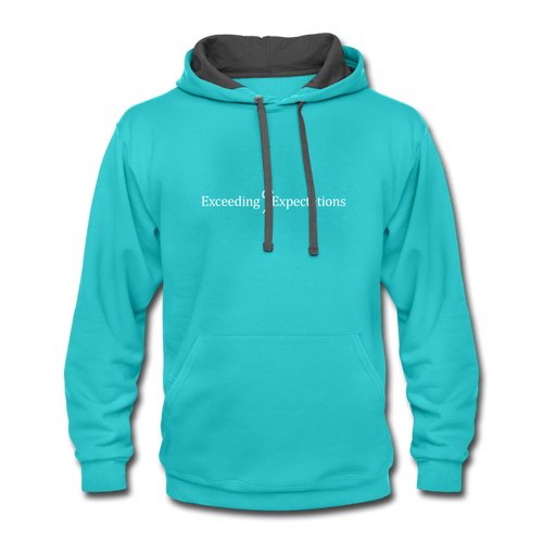 Exceeding All Expectations Contrast Hoodie - scuba blue/asphalt