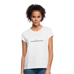 Exceeding All Expectations Women's Relaxed Fit Tee (Black Logo) - white