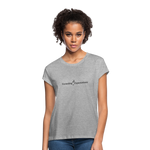 Exceeding All Expectations Women's Relaxed Fit Tee (Black Logo) - heather gray