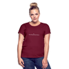 Exceeding All Expectations Women's Relaxed Fit Tee (White Logo) - burgundy