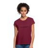 Feedback... Women's Relaxed Fit Tee (Black Logo) - burgundy