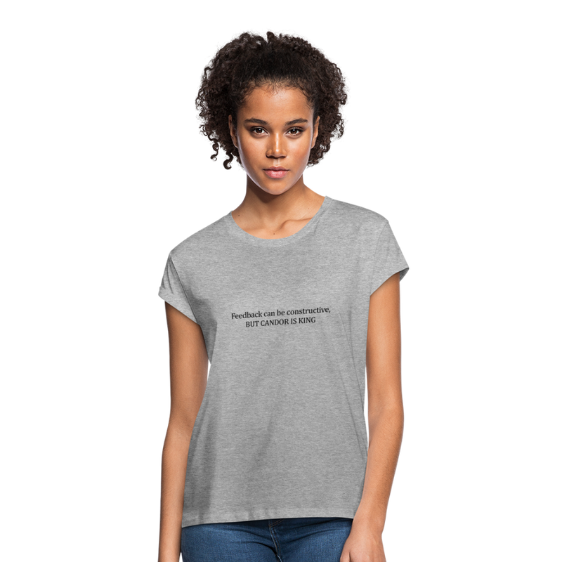 Feedback... Women's Relaxed Fit Tee (Black Logo) - heather gray