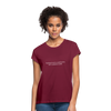 Feedback... Women's Relaxed Fit Tee (White Logo) - burgundy