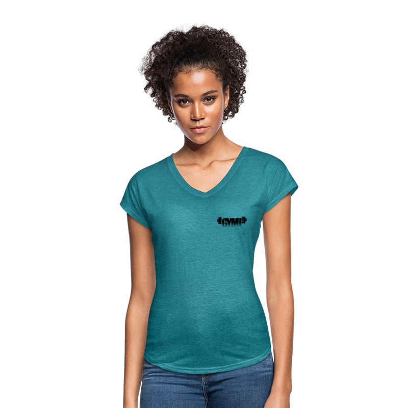 GYMU Women's Tri-Blend V-Neck T-Shirt - heather turquoise