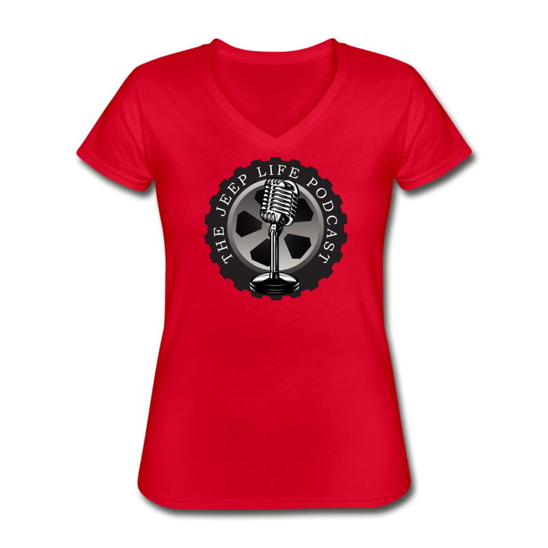 The Jeep Life Podcast Women's V-Neck T-Shirt - red