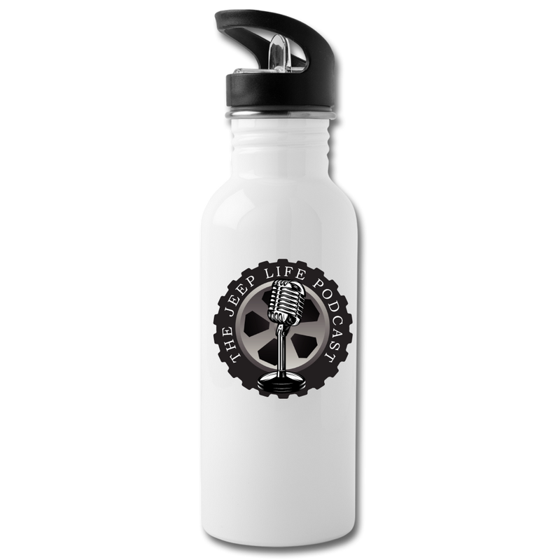 The Jeep Life Podcast Water Bottle - white