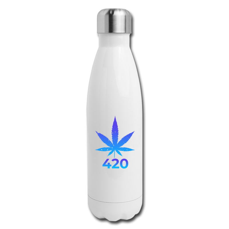 Weed 420 Insulated Stainless Steel Water Bottle - white