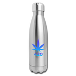 Weed 420 Insulated Stainless Steel Water Bottle - silver