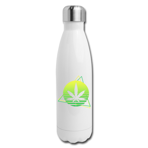 Green Weed Insulated Stainless Steel Water Bottle - white