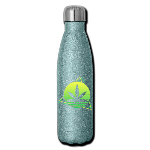 Green Weed Insulated Stainless Steel Water Bottle - turquoise glitter