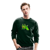 Pompadorable: Art by Ally Cat - Green Batty Crewneck Sweatshirt - forest green